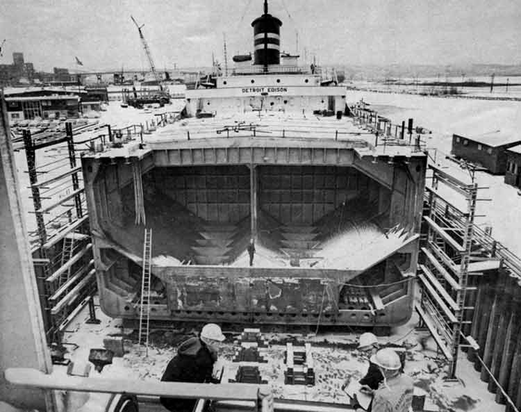 The Detroit Edison undergoes insertion of a  new mid-section in 1966 as part of ASCs fleet modernization program.